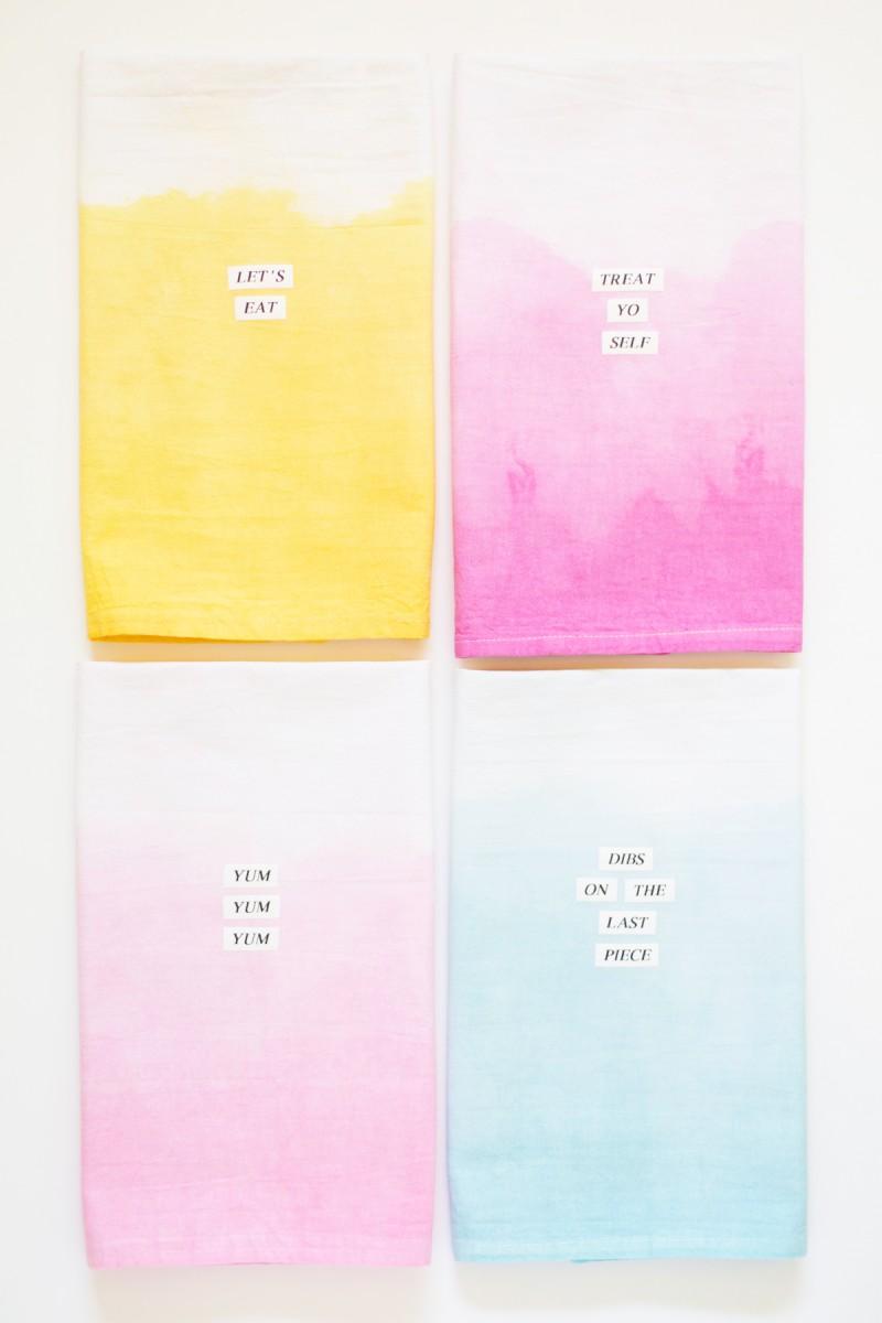 DIY Dip Dye Typography Kitchen Towels