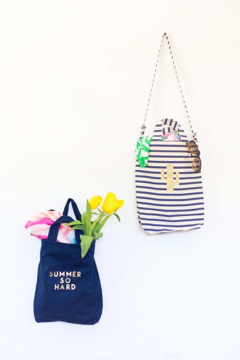 DIY Gold Summer Tote Bags