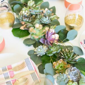 DIY Gold + Copper Leaf Succulent Table Runner thumbnail