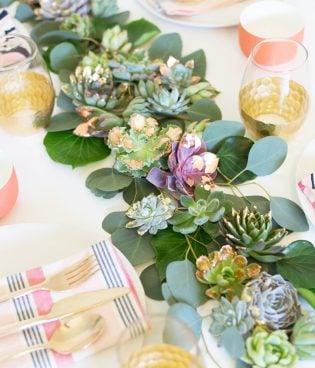 DIY Gold + Copper Leaf Succulent Table Runner thumbnail