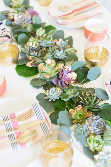 DIY Gold + Copper Leaf Succulent Table Runner