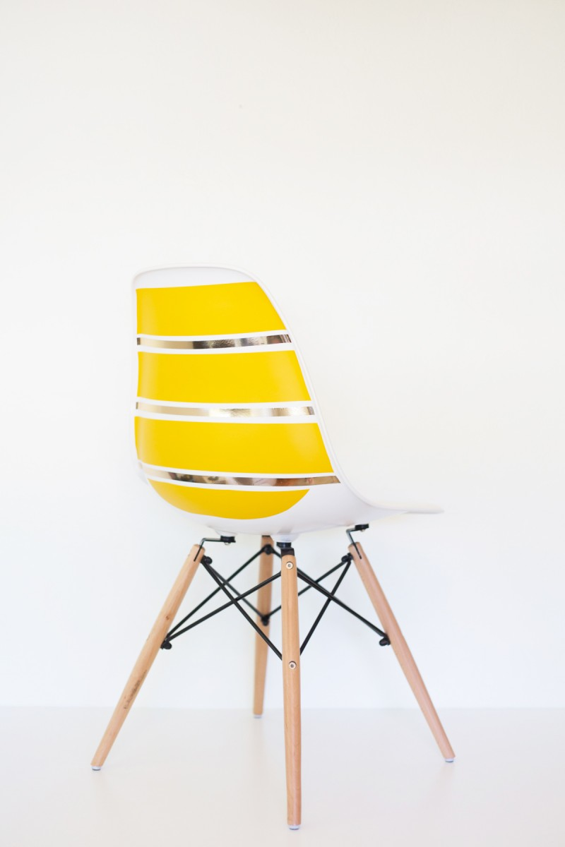 DIY Striped Midcentury Shell Chair
