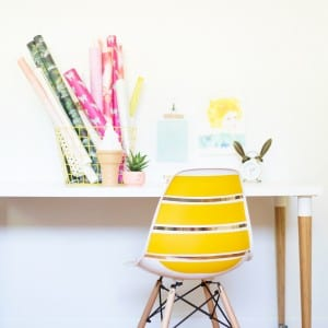 DIY Striped Midcentury Shell Chair thumbnail