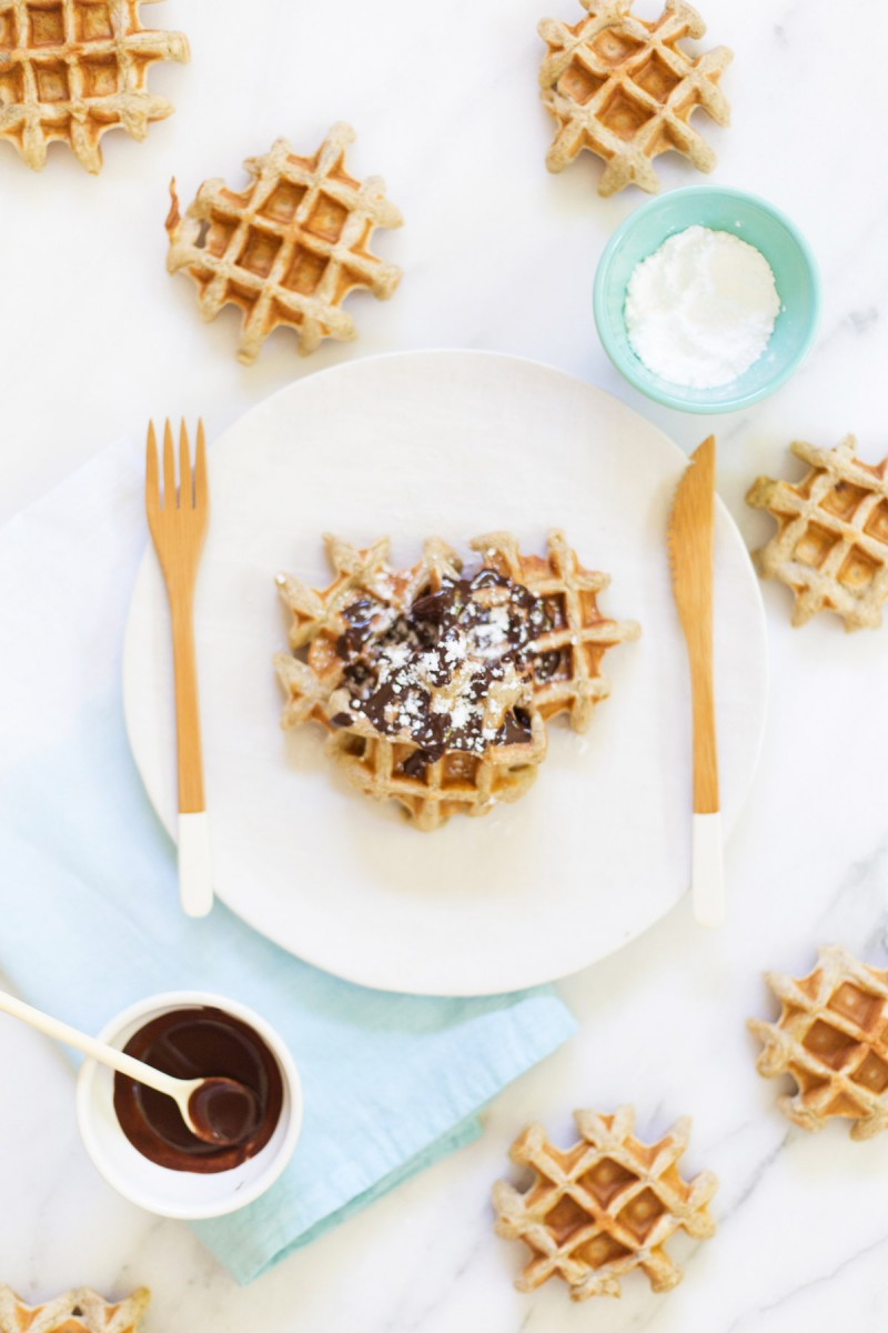 Vanilla Waffles with Dark Chocolate Drizzle