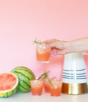 Spiked Watermelon Rosemary Punch for July 4th thumbnail