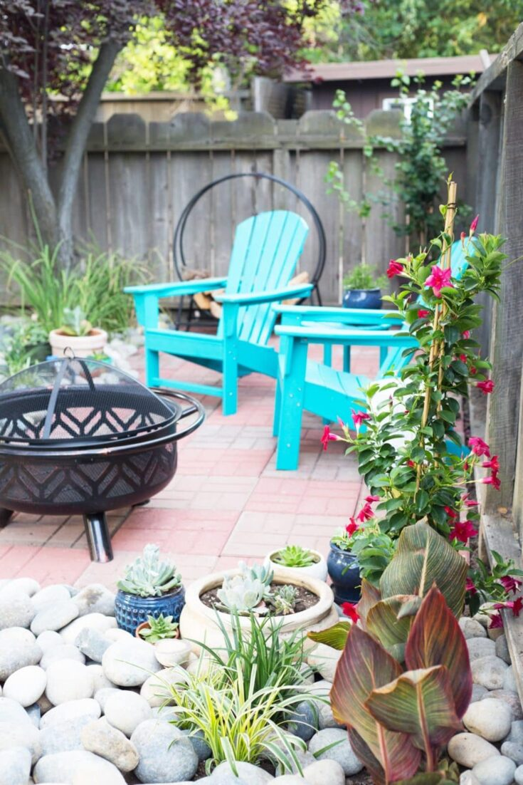 DIY patio with brick pavers and plants