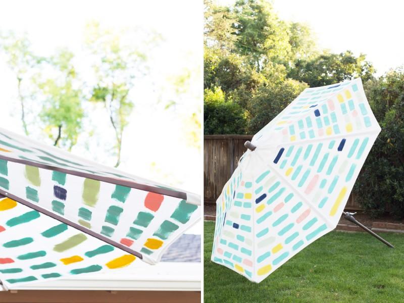 DIY Painted Pattern Patio Umbrella