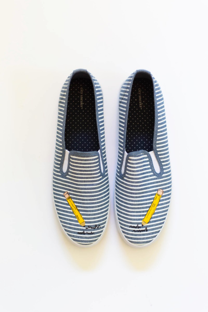 DIY Painted Pencil Back-to-School Sneakers