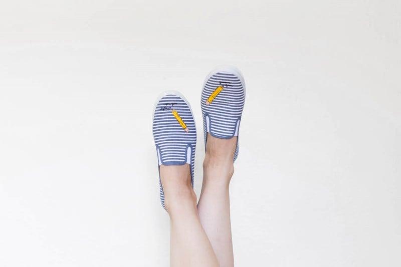 DIY Painted Pencil Back-to-School Sneakers