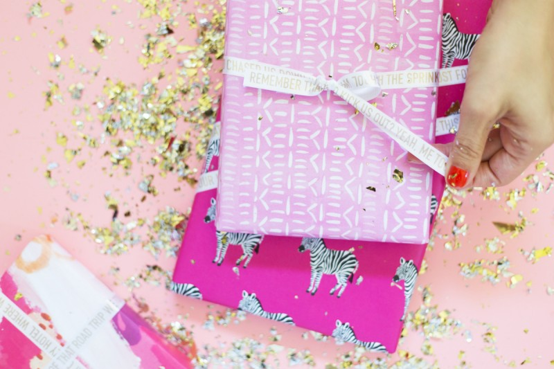 DIY Personalized Printed Gold Gift Wrap Ribbon