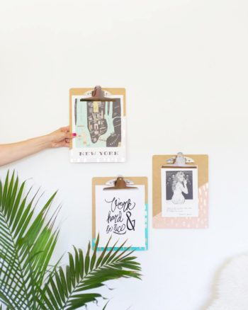 DIY Gold Leaf Brushed Clipboards
