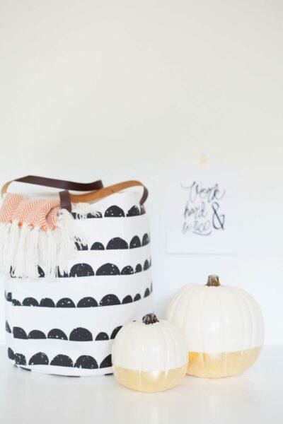 DIY Gold Leaf Dipped Pumpkin