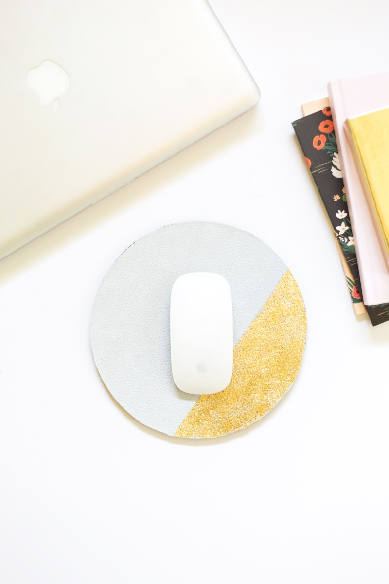 DIY Suede and Gold Leaf Colorblock Mousepad