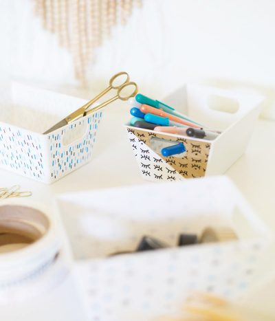 DIY Paint Pen Patterned Office Containers