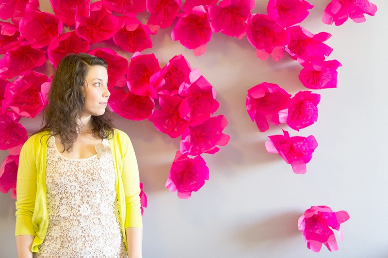 DIY Scattered Flowers Photobooth Backdrop