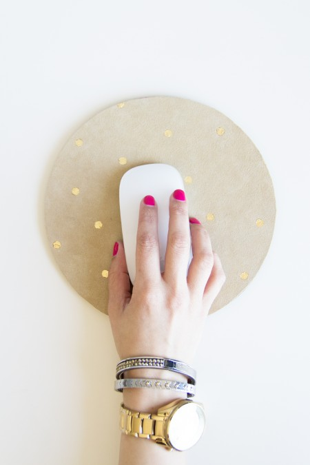 DIY Suede and Gold Leaf Polka Dot Mousepad