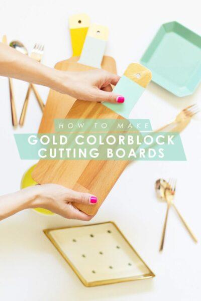 DIY Gold Colorblock Cutting Boards