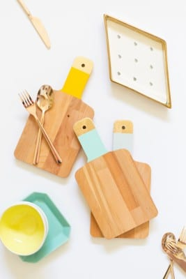 DIY Gold + Colorblock Cutting Boards
