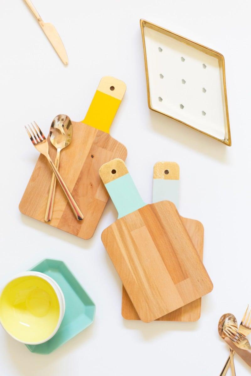 DIY Gold + Colorblock Cutting Boards
