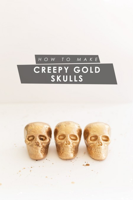 DIY Creepy Gold Skulls for Halloween