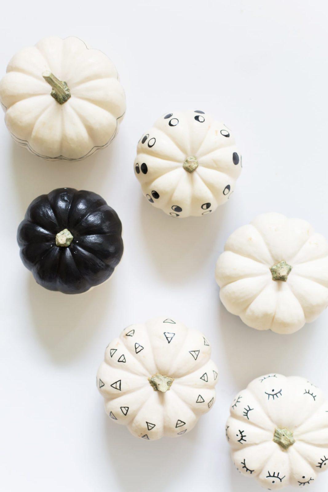 DIY Paint Pen Patterned No-Carve Pumpkins