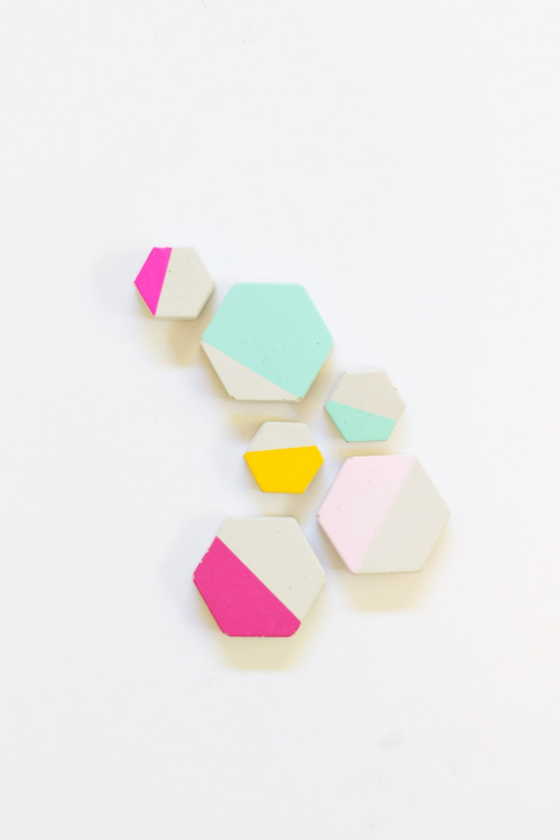 DIY Cement Hexagon Magnets