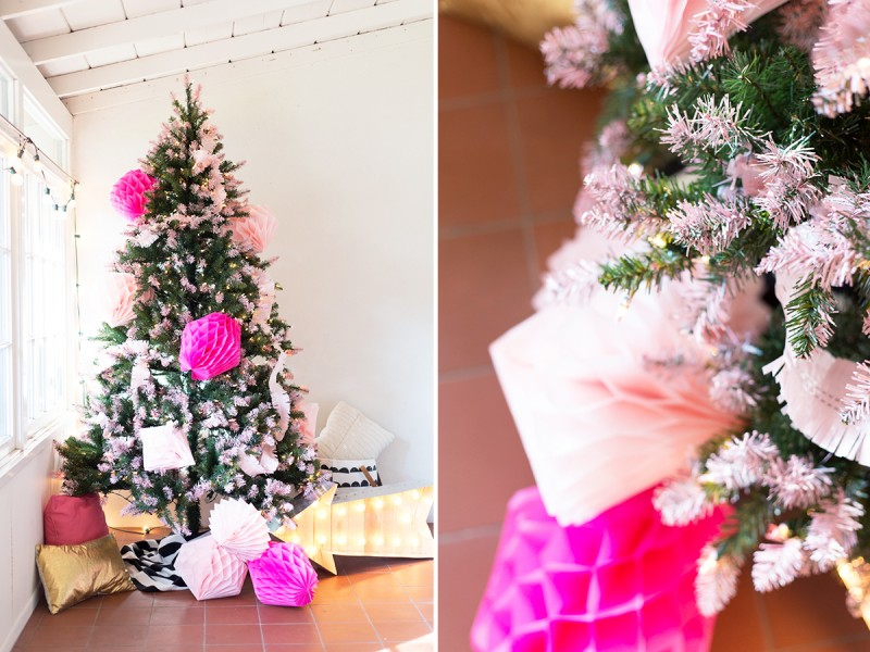 How to Make a Pink Tipped Christmas Tree