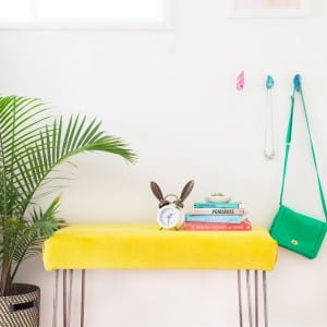 DIY Yellow Velvet + Hairpin Leg Bench thumbnail