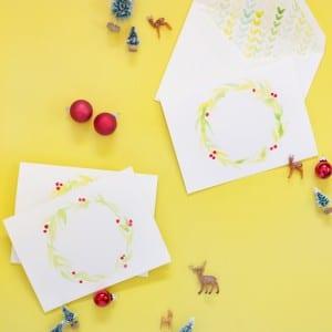 DIY Watercolor Holiday Cards + Envelope Liners thumbnail