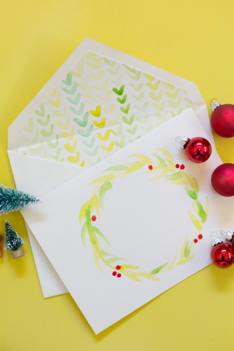 How to Make Watercolor Holiday Cards + Envelope Liners