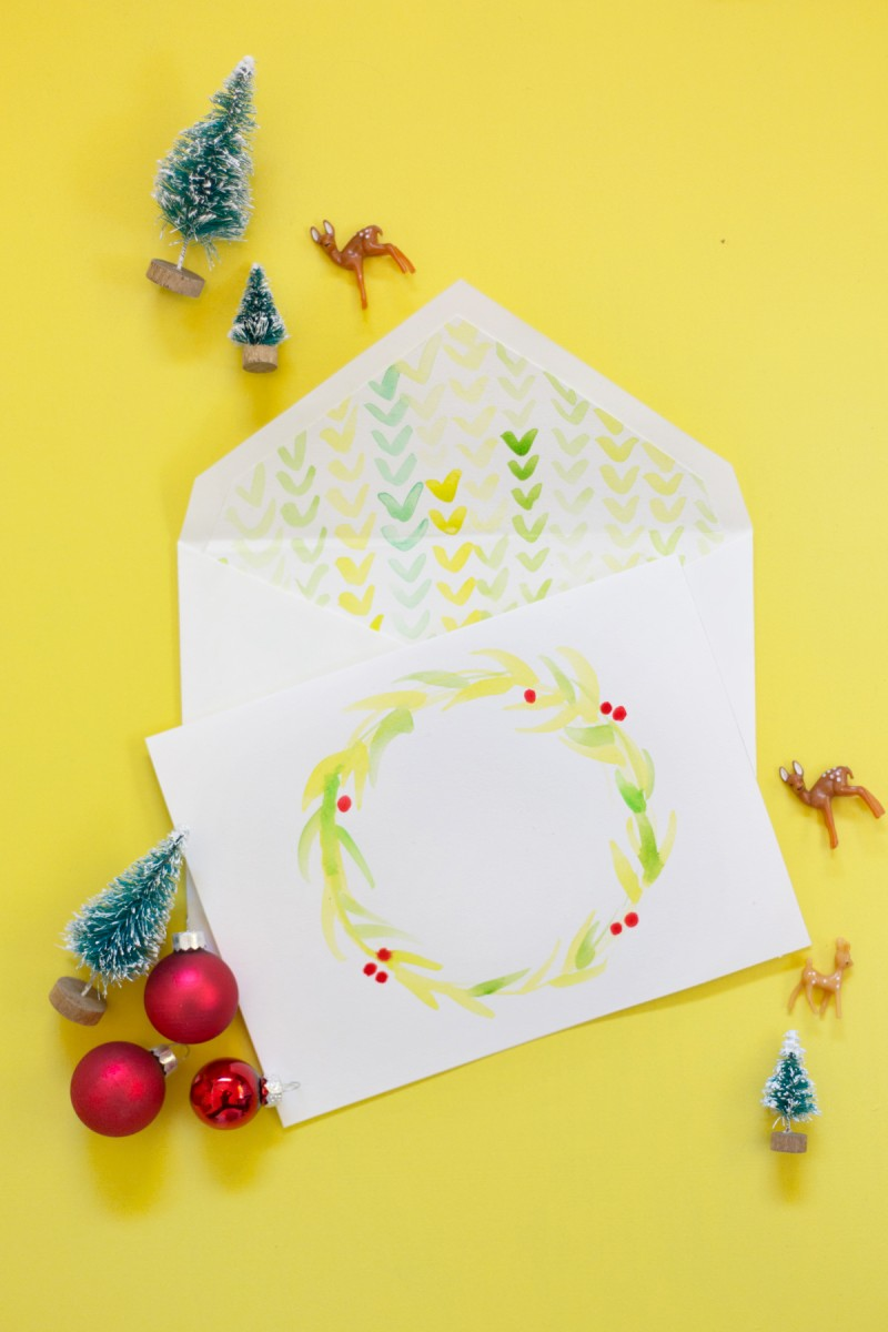 How To Make Watercolor Holiday Cards Envelope Liners