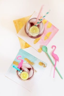 How to Make Ombre + Gold Cocktail Napkins
