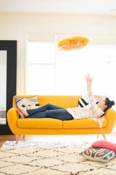 Yellow Pillow Toss