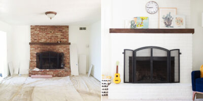 paint a brick fireplace before and after