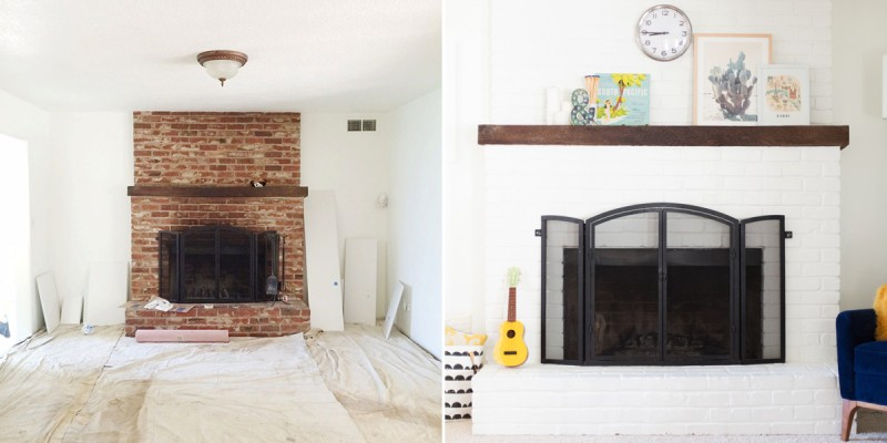 How To Paint A Brick Fireplace Diy From Lovely Indeed