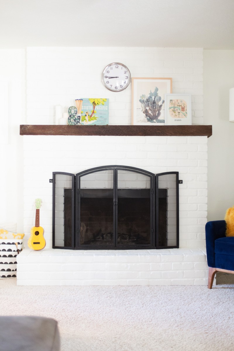 How to paint a brick fireplace white for Bricks painting design