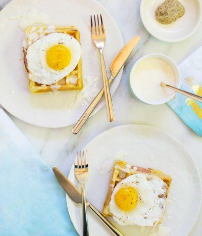 Easter Brunch Idea // Waffle Croque Madames thumbnail