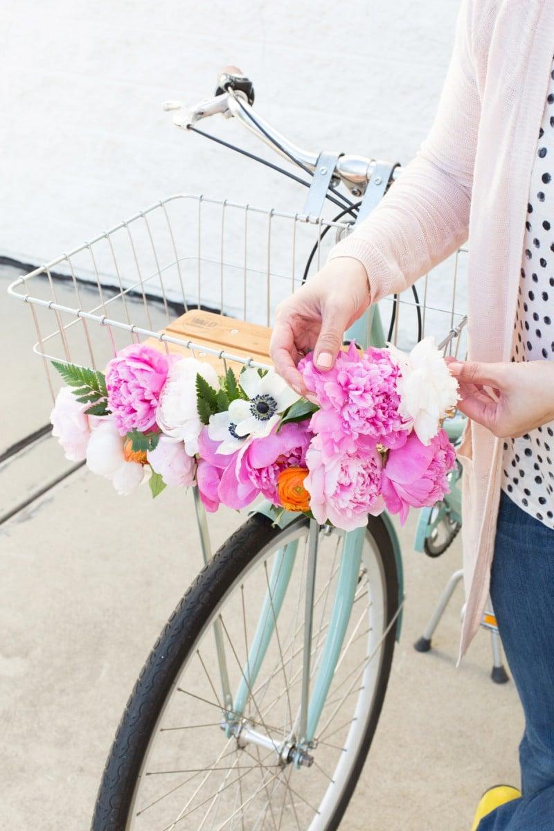 Diy Floral Bike Basket Lovely Indeed