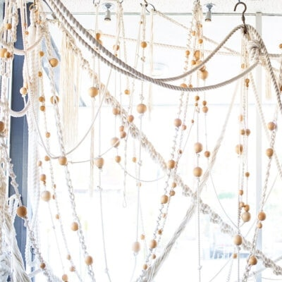 Macrame and wooden bead wall hanging