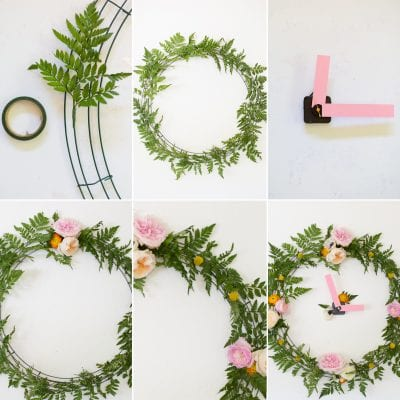 How to make a floral clock for spring parties, wedding showers, or baby showers