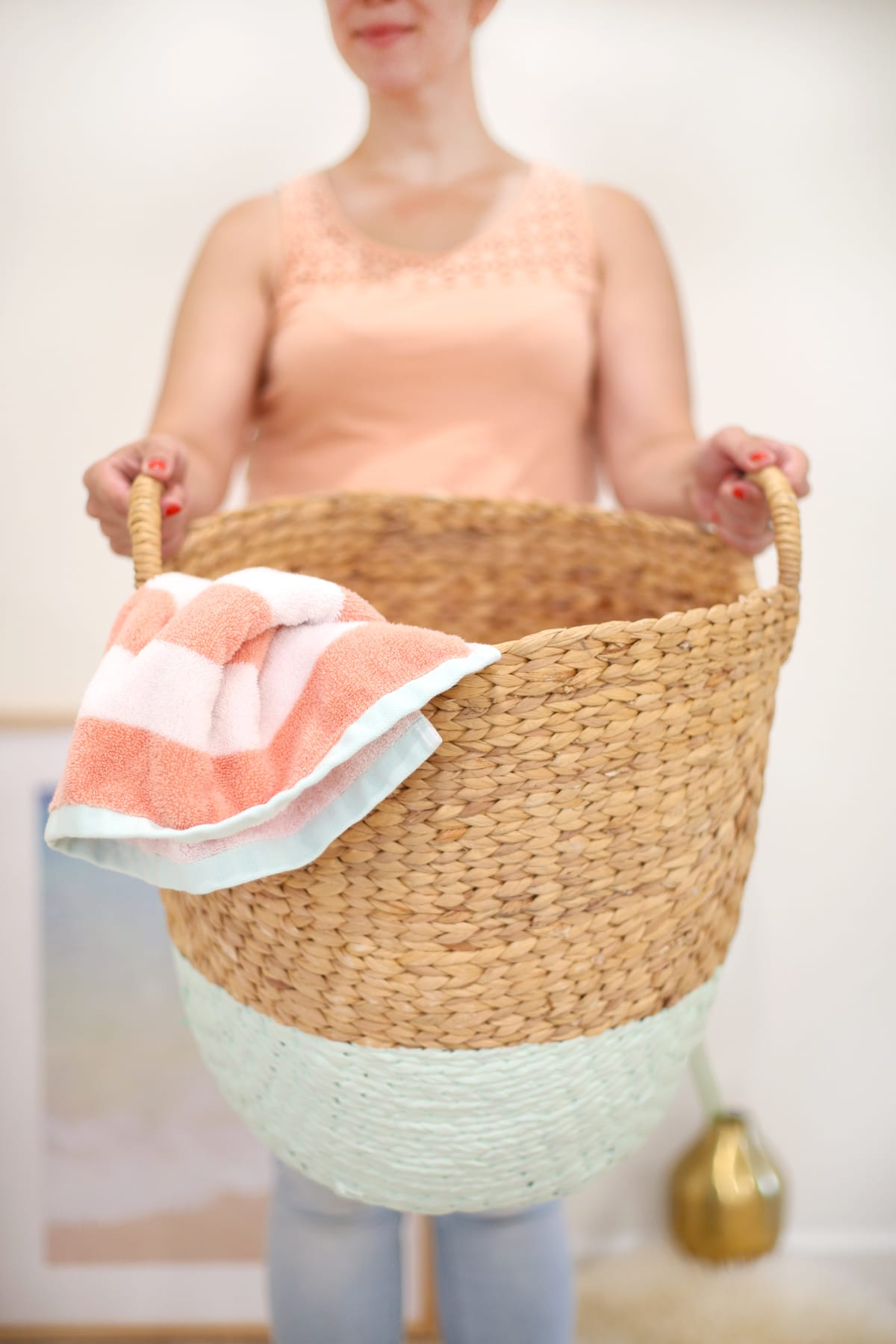 DIY Color Dipped Hamper Basket