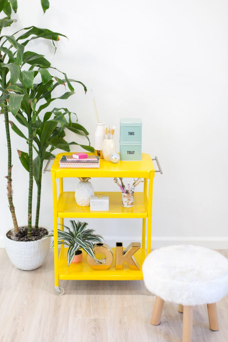 DIY Metal Rolling Cart Restyle