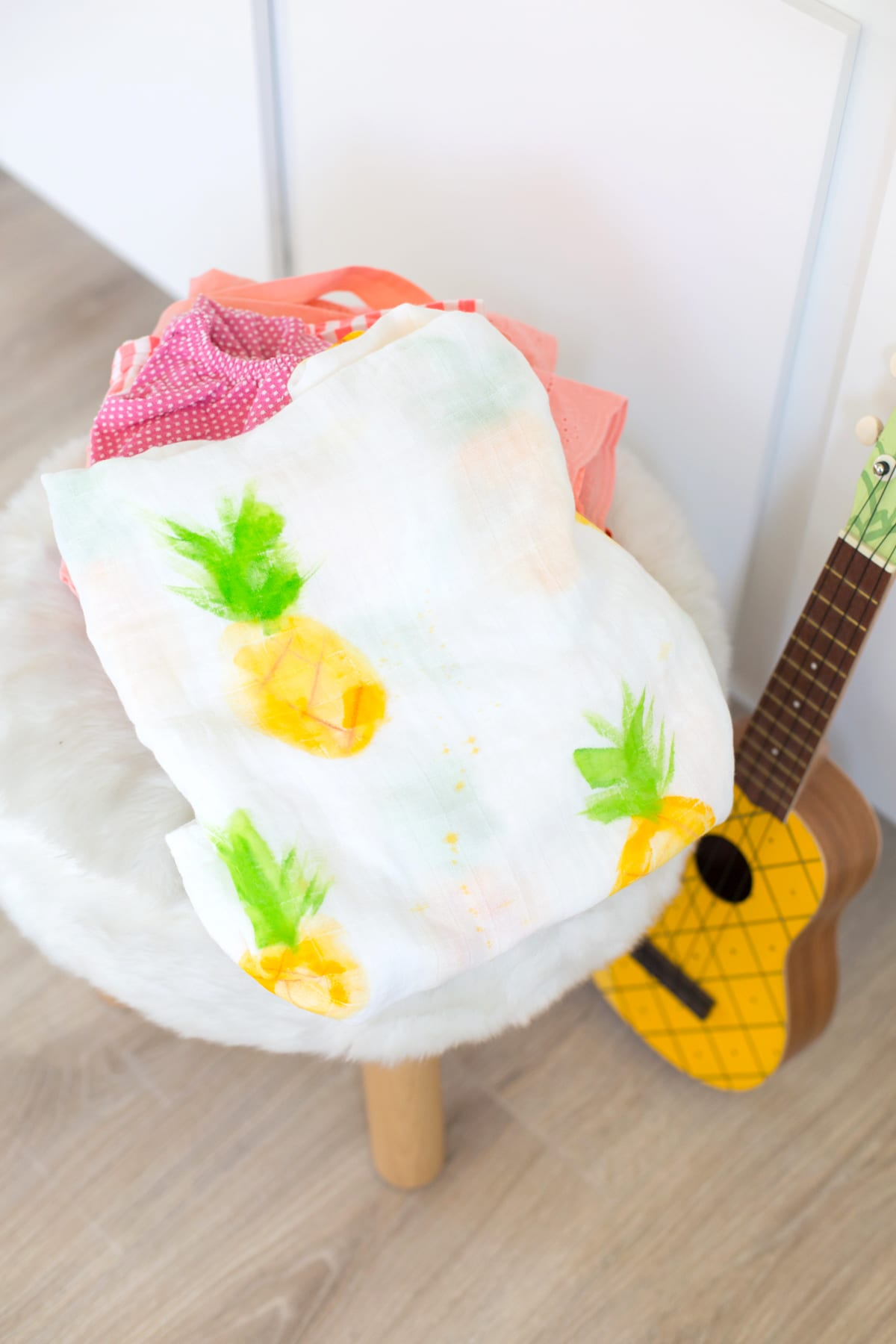 How to Make a Painted Pineapple Baby Swaddle Blanket
