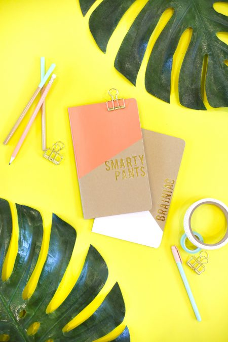 DIY Gold Foil Notebooks for Back to School