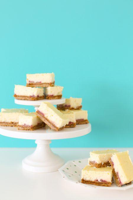 Easy Strawberry Vanilla Bean Cheesecake Bars