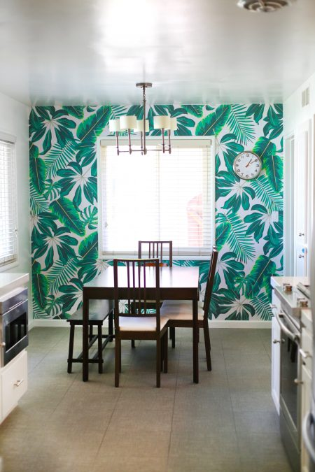 Tropical Leaves Wallpaper Accent Wall in a Kitchen