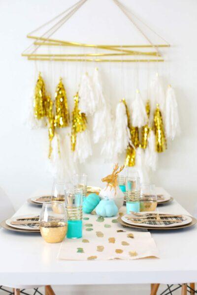 DIY Gold Foil Brushstroke Table Runner