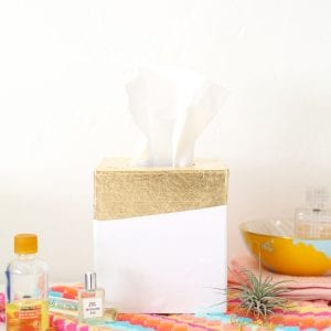 DIY Gold Leaf Tissue Box Holder thumbnail