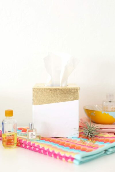 DIY Gold Leaf Tissue Box Holder