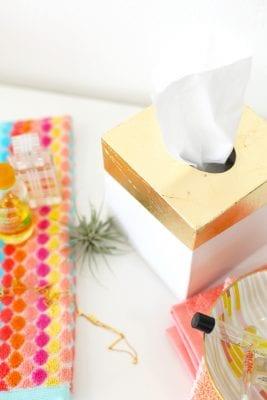 DIY Gold Leaf Tissue Box Holder